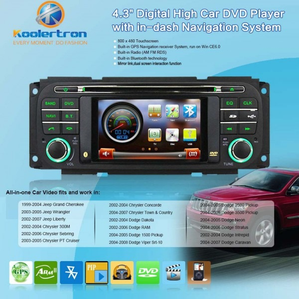 Free Map Autoradio Dvd Gps Navigation Stereo+bt+fm For 99 04 Jeep