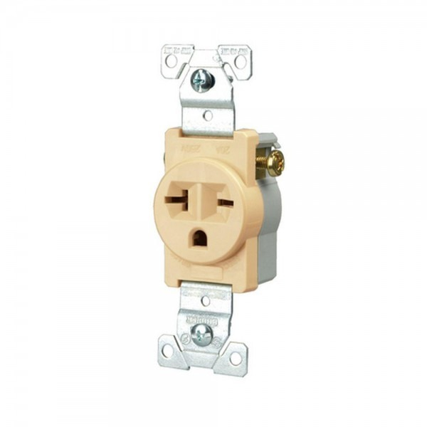 Eaton Commercial Grade 20 Amp Straight Blade Single Receptacle