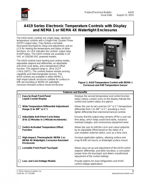 Johnson Controls A419 Series User Manual