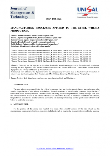 Pdf) Manufacturing Processes Applied To The Steel Wheels Production