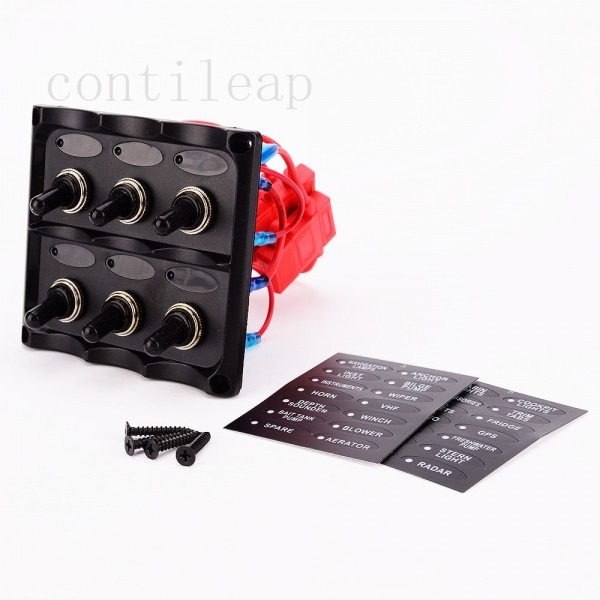 Marine Electric 6 Gang Led Toggle Switch Panel For Boat Truck And