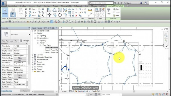 Revit Electrical Power 04 Add Wires And Home Runs
