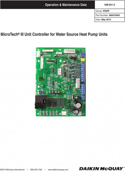 Microtech Iii Unit Controller For Water Source Heat Pump Units