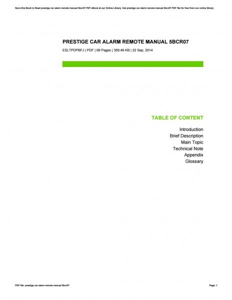 Prestige Car Alarm Remote Manual 5bcr07 By Corinnebryden4310