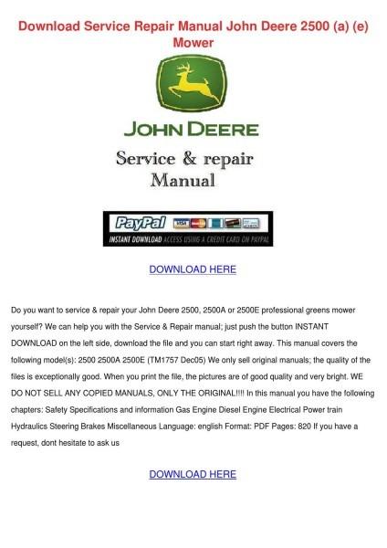 Download Service Repair Manual John Deere 250 By Penney Kijowski