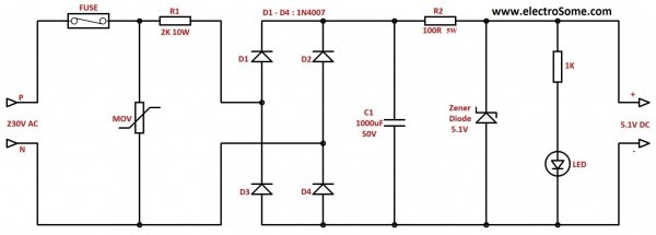 Transformerless Low Cost Dc Power Supply   Resistive & Capacitive