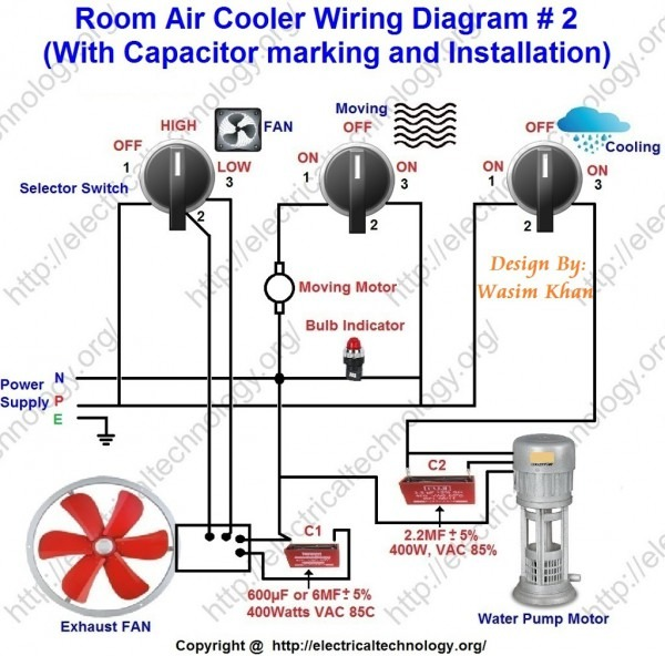 Room Air Cooler Wiring Diagram   2  (with Capacitor Marking And