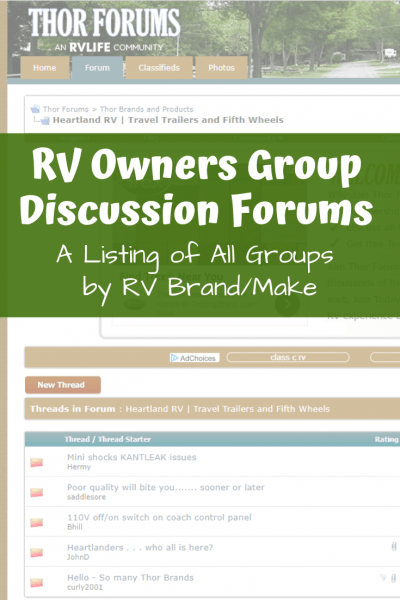 Rv Owners Group Discussion Forums By Rv Brand   Make