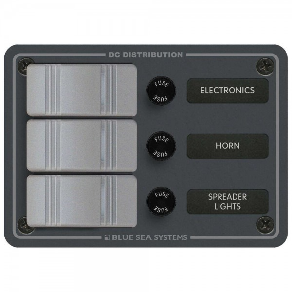 Blue Sea 8054 Power Distribution Panel 12v 24v Dc Waterproof 3 Pos