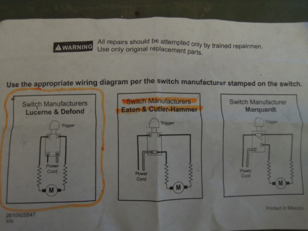 Skil Switch Wiring Diagram
