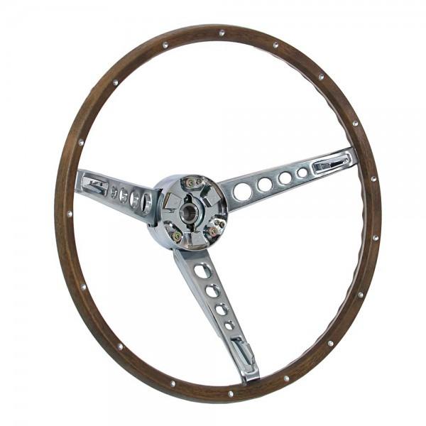 Mustang Steering Wheel With Horn Ring Woodgrain 1967