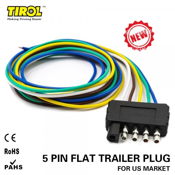 Tirol 5 Way Flat Trailer Wire Harness Extension Connector Plug