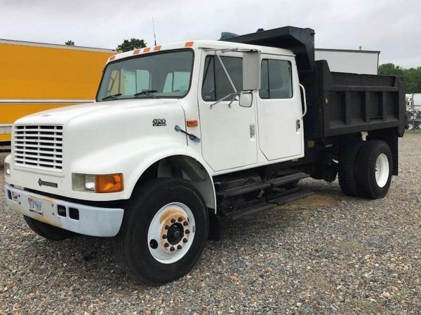 2000 International 4900 4x2 Crew Cab Dump Truck For Sale