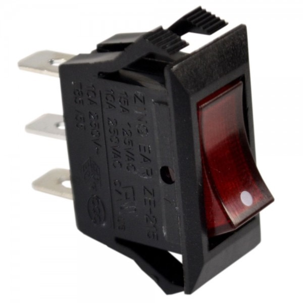 Red Lighted Rocker Switch Black Function On Off 3 Prong 15a 125v