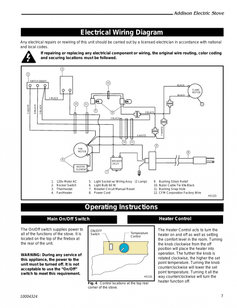 Electrical Wiring Diagram Operating Instructions  Addison